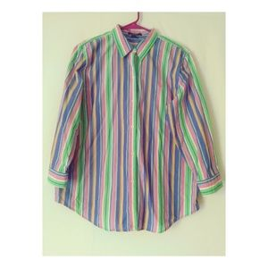 Women's Chaps Button up Striped Shirt Size XL